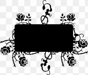 Flower Banner - Monochrome Clip Art PNG