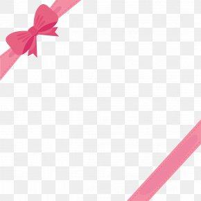 Cute Pink Ribbon Bow Border - Pink Ribbon PNG