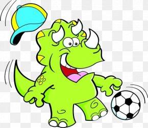 Cartoon Rhino Kicks - Triceratops Dinosaur Football Clip Art PNG