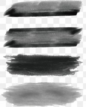 Dark Gray Brush Brush - Ink Brush Black And White Paintbrush Watercolor Painting PNG
