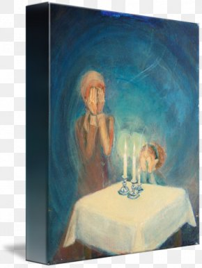 Shabbat Candles - Watercolor Painting Modern Art Acrylic Paint Still Life PNG