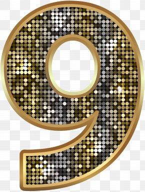 Number Nine Deco Gold Clip Art Image - Number Clip Art PNG