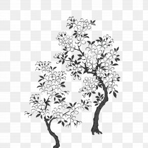 Black And White Hand-painted Cherry Trees Buckle Free Material - Black And White Cherry Blossom PNG