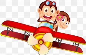 Fly Monkey - Monkey Cartoon Ape Airplane PNG