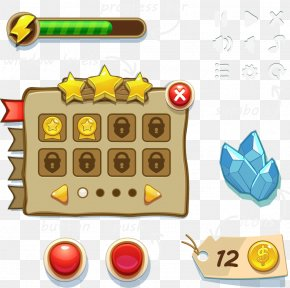 Game UI Web Games Gold Buttons - Button Game User Interface PNG
