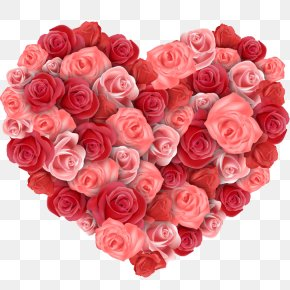 Roses Put Together Love - Flower Heart Rose Valentines Day PNG