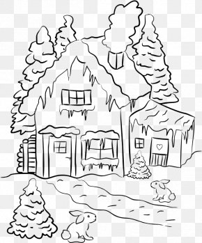 House - Black And White Drawing Line Art Clip Art PNG
