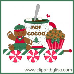 Gingerbread Train Cliparts - Train Gingerbread House Santa Claus Clip Art PNG
