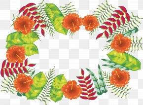 Orange Summer Plant Border - Orange Blossom Computer File PNG