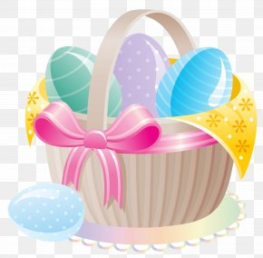 Delicate Basket With Easter Eggs Clipart - Easter Bunny Easter Egg Basket Clip Art PNG