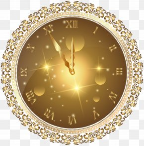 Gold New Year's Clock PNG Transparent Clip Art Image - New Year's Eve Clock Clip Art PNG