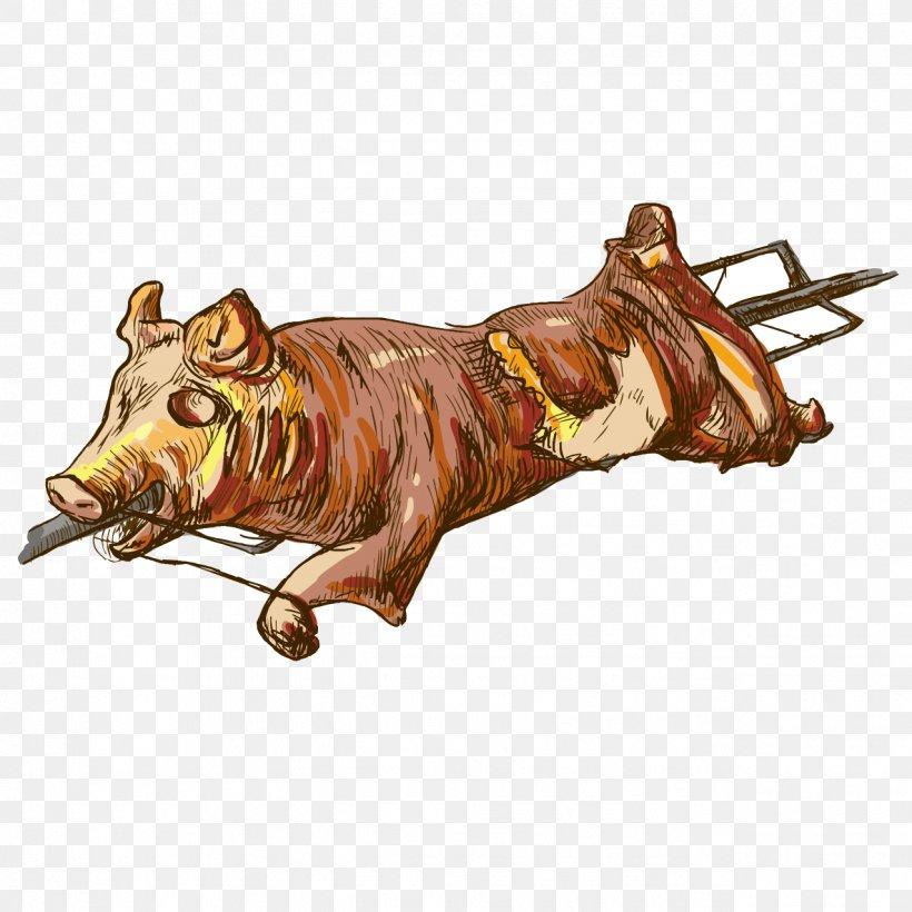 Pig Roast Suckling Pig Roasting Illustration, PNG, 1276x1276px, Pig Roast, Animal Source Foods, Art, Cattle Like Mammal, Cooking Download Free