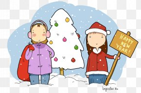 Sheng Ri Kuai Le - Christmas Ornament New Year Santa Claus English PNG