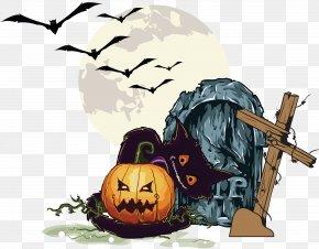 Cemetery Halloween Pumpkin - Halloween Pumpkin Jack-o-lantern Clip Art PNG
