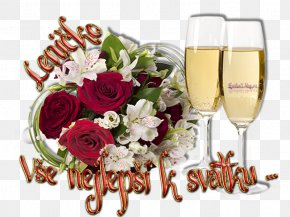 Champagne - Champagne Floral Design Greeting & Note Cards Flower Bouquet Name Day PNG