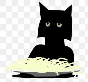 Black Kitten Eating Noodles - Spaghetti With Meatballs Italian Cuisine Pasta Pizza PNG
