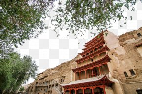 Dunhuang Thousand Buddha Cave - Crescent Lake Yumen Pass Zhangye Mogao Caves Mingsha Mountain And Crescent Moon Spring PNG