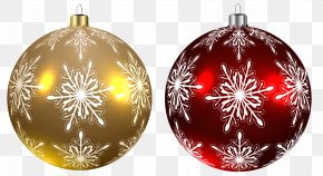 Christmas Balls Yellow And Red Transparent Clipart Image - Christmas Day Christmas Ornament Clip Art PNG
