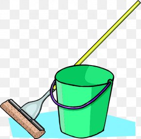 Green Cleaning Cliparts - Mop Bucket Broom Cleaning Clip Art PNG