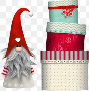 Vector Santa Claus And Gift Boxes - Scandinavia Nisse Gnome Elf Illustration PNG