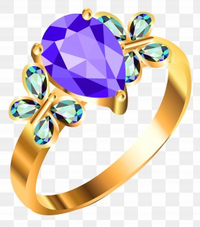 Gold Ring With Blue AndPurple Diamonds Clipart - Earring Jewellery Clip Art PNG