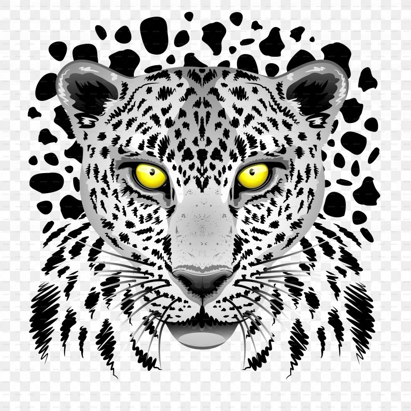 Snow Leopard Tiger Felidae Black Panther, PNG, 6500x6500px, Leopard, Animal, Big Cat, Big Cats, Black And White Download Free