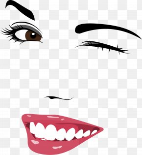Hand-painted Characters, Facial Expression, Smiling Face - Wink Eyebrow Facial Expression PNG