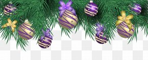 Transparent Christmas Pine Decor With Purple Balls Clipart Image - Christmas Ornament Purple Clip Art PNG