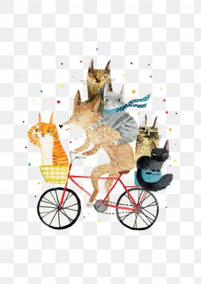 Cycling Fox - Cycling Bicycle Paper Greeting Card Illustration PNG