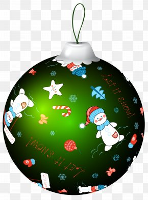 Green Christmas Ball With Snowman Clip Art Image - Christmas Ornament Christmas Decoration Clip Art PNG