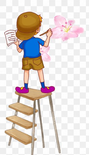 A Cartoon Boy Standing On A Ladder Drawing - Painting Drawing Cartoon Illustration PNG