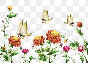 Cartoon Flower Painting,Creative Butterfly - High-definition Television Display Resolution Image Resolution Wallpaper PNG