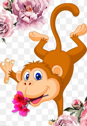Hand-painted Cartoon Monkey - Monkey Cartoon Dance Illustration PNG