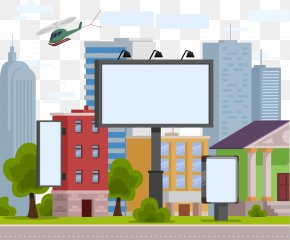 Vector Hand-painted City Billboards - Advertising Billboard Stock Illustration Illustration PNG