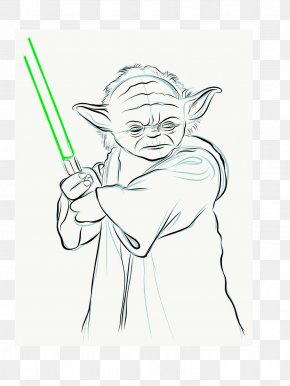 Master Yoda - Line Art Figure Drawing Sketch PNG