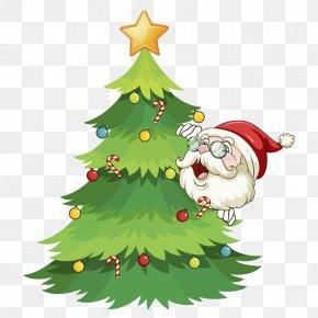 Christmas Tree With Santa Claus - Santa Claus Reindeer Christmas Tree Illustration PNG