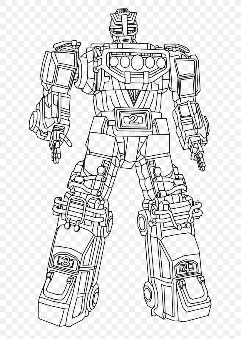 Power Rangers Line Art Turbo Megazord Drawing Coloring Book, PNG ...