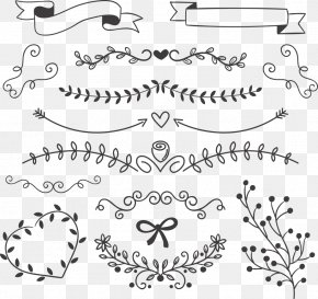 Vector Black Leaves With Ribbon - Euclidean Vector Drawing Icon PNG