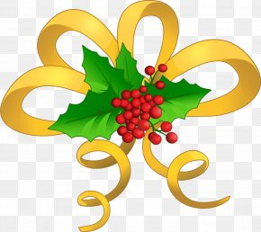 Christmas Yellow Bow With Mistletoe Clipart - Christmas Royalty-free Clip Art PNG
