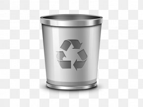 Metal Trash Can - Trash Recycling Bin Waste Container Icon PNG