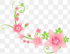 Pink Floral Decoration Clip-Art Image - Flower Floristry Clip Art PNG