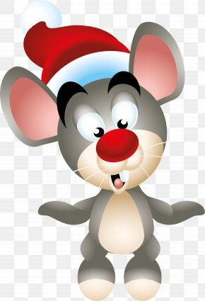 Mouse Vector - Computer Mouse Christmas Ded Moroz New Year Clip Art PNG