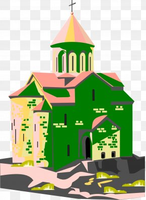 Vector Green Painted Church - Church Building Architecture Illustration PNG