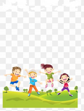 Children On The Lawn - Child Illustration PNG