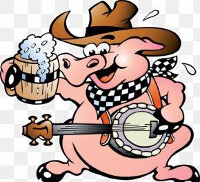 Violin Piggy - Domestic Pig Cartoon Drawing Clip Art PNG