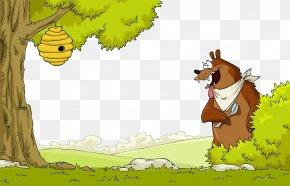 Hand-painted Big Brown Bear - Brown Bear Beehive Clip Art PNG