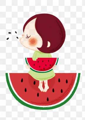 Watermelon Cartoon Character - Watermelon Eating Summer PNG