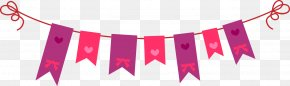 Cartoon Cute Pull Flag - Valentine's Day Greeting Card Clip Art PNG
