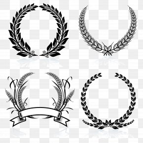 Black And White Wheat Border - Laurel Wreath Bay Laurel Stock Photography Clip Art PNG