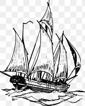 Ship Outline - Sailing Ship Boat Clip Art PNG
